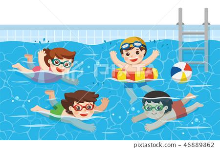 Kids swimming in the swimming pool. 46889862