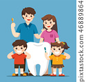 Kids and parents standing next to big white tooth. 46889864