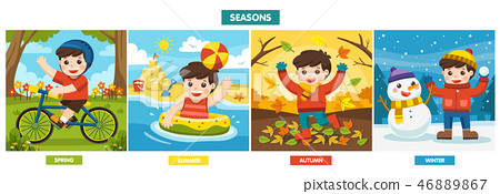 A Cute boy playing in different seasons. 46889867