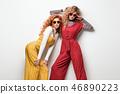 Sensual Woman Having Fun in Studio. Fashion Outfit 46890223