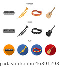 Electro organ, trumpet, tambourine, string guitar. Musical instruments set collection icons in 46891298