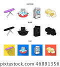 Ironing board and other accessories. Dry cleaning set collection icons in cartoon,black,flat style 46891356