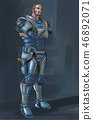 Concept Art Science Fiction Illustration of Futuristic Soldier Character in Armor With Pistol 46892071