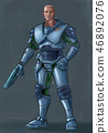 Concept Art Science Fiction Illustration of Futuristic Soldier Character in Armor With Gun 46892076