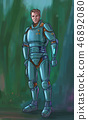 Concept Art Science Fiction Illustration of Futuristic Soldier or Astronaut Character in Armor or 46892080