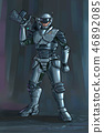Concept Art Science Fiction Illustration of Futuristic Soldier Character in Armor With Rifle 46892085