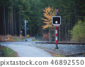 Unprotected Rail Crossing in Forest. 46892550