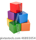 Business success concept Stairs and colored blocks 46893054