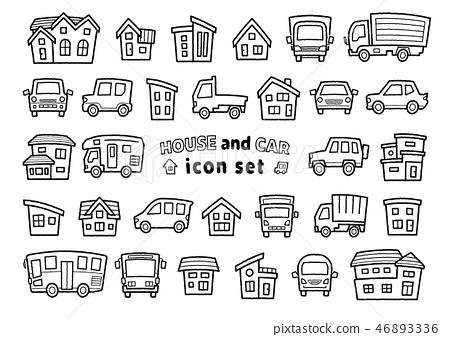 汽車和房子圖標集(手冊樣式線藝術)第一個字符串版本 46893336