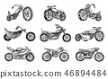 Set of Vintage motorcycles. Collection of bicycles. Extreme Biker Transport. Retro Old Style. Hand 46894484