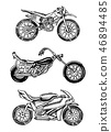Vintage motorcycles. Collection of bicycles. Extreme Biker Transport. Retro Old Style. Hand drawn 46894485