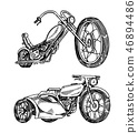 Vintage motorcycles. Collection of bicycles. Extreme Biker Transport. Retro Old Style. Hand drawn 46894486