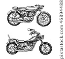 Vintage motorcycles. Collection of bicycles. Extreme Biker Transport. Retro Old Style. Hand drawn 46894488