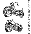Vintage motorcycles. Collection of bicycles. Extreme Biker Transport. Retro Old Style. Hand drawn 46894489