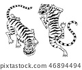 Asian tigers in vintage japanese style for logo. Wild animals cats. Predators from the jungle. Hand 46894494