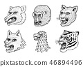 Head of Wild Animal Predator. Puma Wolf Fox Tiger Eagle Falcon Monkey Face. Japanese Style Portraits 46894496