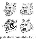 Head of Wild Animal Predator. Puma Wolf Fox Tiger Face. Japanese Style Portraits. Hand drawn 46894513