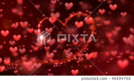 Valentines background, flying abstract hearts 46894708
