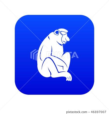 Orangutan icon digital blue 46897007