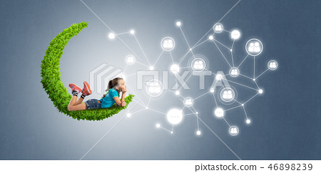 Idea of children Internet communication or online playing and parent control 46898239