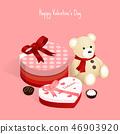 happy valentine's day,isometric chocolate gift box 46903920