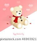 happy valentine's day,isometric teddy bear gift 46903921