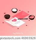 happy valentine's day,isometric chocolate cake 46903926