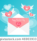 happy valentine's day,letter love card heart wings 46903933