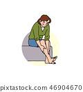 다리의 붓기가 잡힌 기뻐 부인 46904670