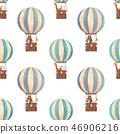 Watercolor air baloon pattern 46906216