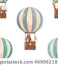 Watercolor air baloon pattern 46906218
