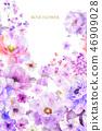 美麗的水彩玫瑰花和牡丹花 46909028