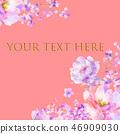 美麗的水彩玫瑰花和牡丹花 46909030
