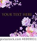 美麗的水彩玫瑰花和牡丹花 46909031