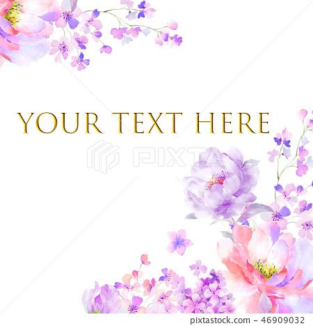 아름다운 수채화 장미와 작약 꽃 46909032