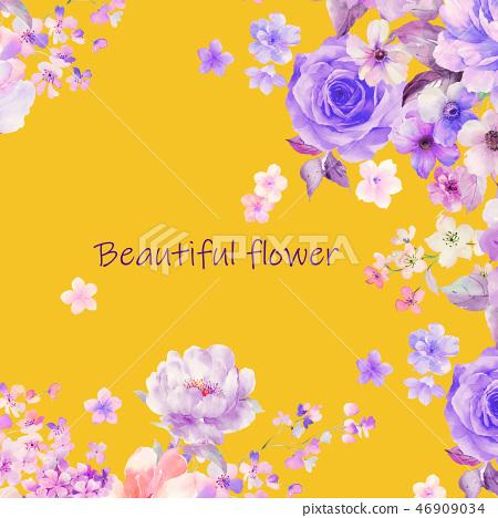 美麗的水彩玫瑰花和牡丹花 46909034
