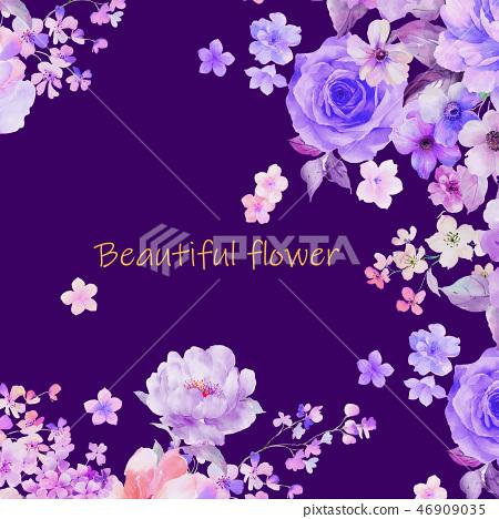 美麗的水彩玫瑰花和牡丹花 46909035