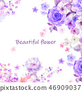 Beautiful watercolor rose and peony flower 46909037