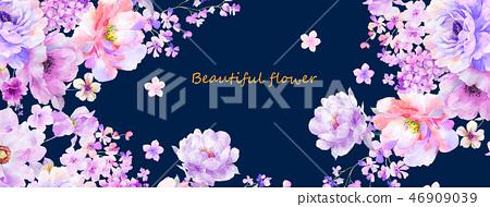 美麗的水彩玫瑰花和牡丹花 46909039