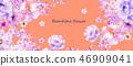 美麗的水彩玫瑰花和牡丹花 46909041