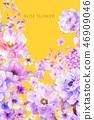 美麗的水彩玫瑰花和牡丹花 46909046