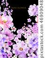 美麗的水彩玫瑰花和牡丹花 46909048
