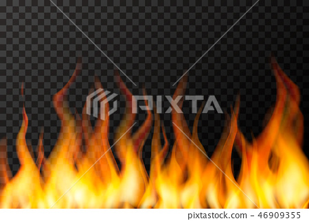 Wall of bright fire flame on transparent 46909355