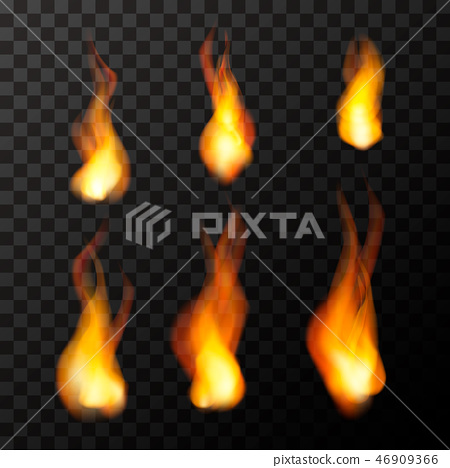 Set of bright fire flames on transparent 46909366