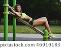 outdoor sport sexy athletic young woman working out in gym worki 46910183