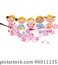 幼兒園的孩子們正坐在櫻花叢中 46911135