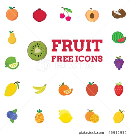 Fruits icons set vector 46912952