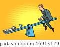 Money business balance. Of a seesaw. Swing Board balancer 46915129