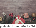 Christmas gift box decoration on wood table 46915264