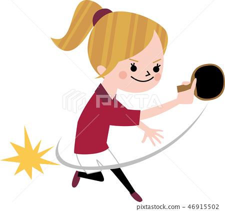 乒乓球女孩 46915502
